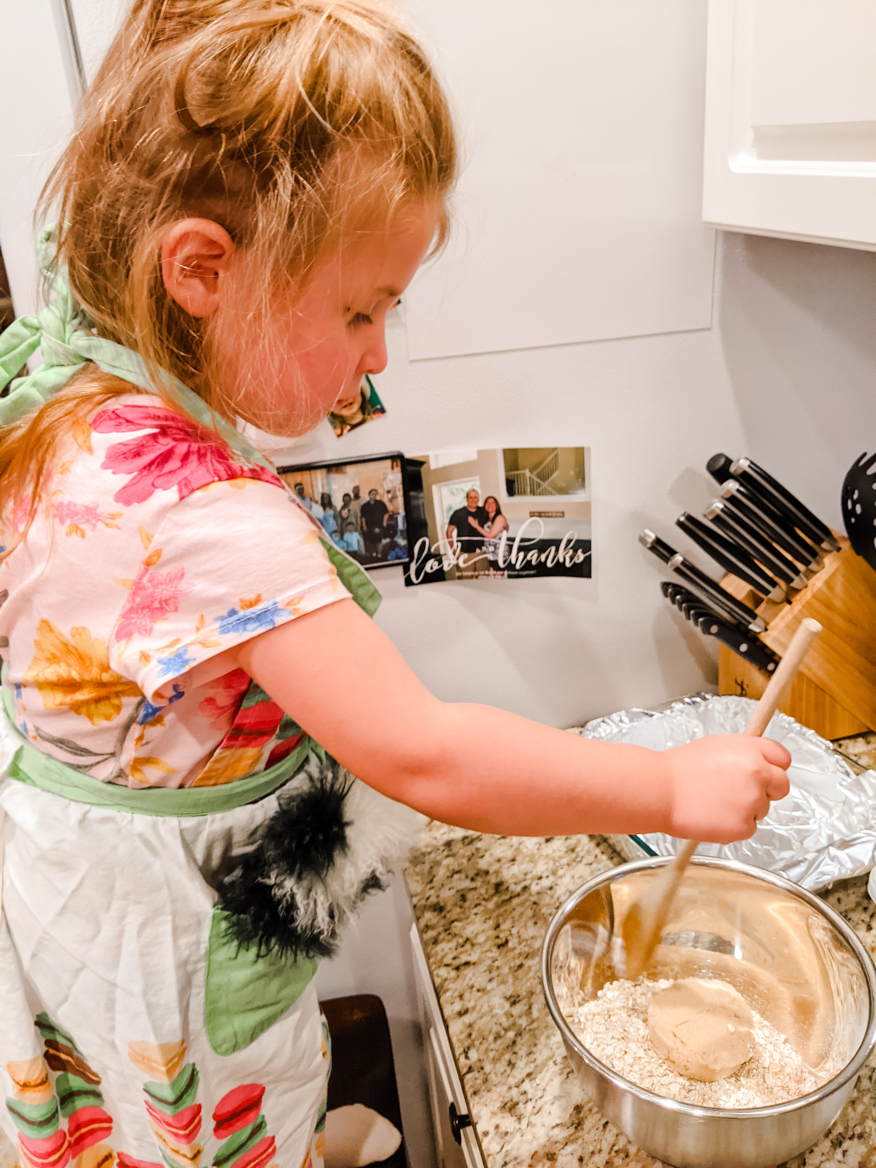 Baking apple crisp with a toddler